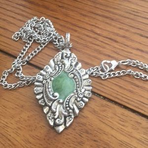 Green Enamel Silver Tone Pendant Necklace